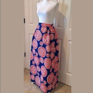 Vintage barkcloth Maxi Skirt high waist Sm Med